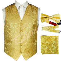 GOLD  XS to 6XL Paisley Tuxedo Suit Dress Vest Waistcoat & Bow tie Hanky - $23.74+