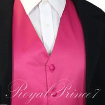 Fuchsia Hot Pink New Men Solid Classic Formal Tuxedo Suit Vest Waistcoat Wedding - $16.81+