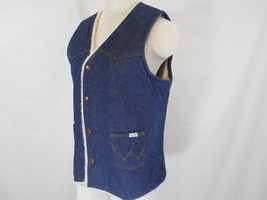 "WRANGLER ""No Fault"" 100% Cotton Denim Vest Fleece Lining S / Small USA - $22.45"