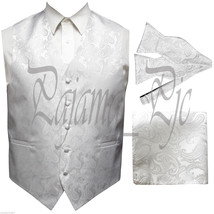 WHITE XS to 6XL Paisley Tuxedo Suit Vest Waistcoat & Self tie Bow tie & ... - $29.68+