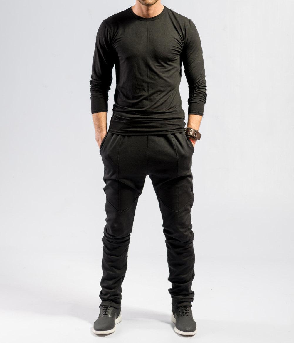 Minimalist Black Pants / Ninja Pants / Black Sweatpants / Mens Pants / - Pants