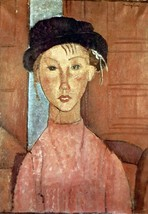 100% Hand Painted Oil on Canvas - Modigliani - Girl with Hat - 24x36 Inch - $315.81