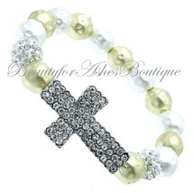 Beauty for Ashes Pave Crystal Cross Hammered Bead Silver Gold Stretch Br... - $19.95