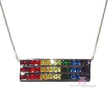 7 Colors Gods Promise Rainbow Cubic Zirconia CZ Triple Multi 3 Row Bar Necklace - $99.50