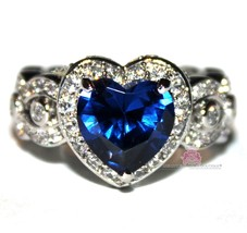 Heart for Jerusalem Deep Sapphire Blue Cz 18K White Gold Plated Cocktail Ring - $59.00