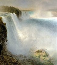 100% Hand Painted Oil on Canvas - Church - Niagra Falls from the America... - $315.81