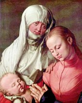 100% Hand Painted Oil on Canvas - Virgin and Child with St. Anne by Dure... - $315.81