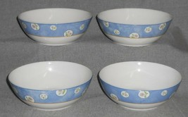 Set (4) 1997 Royal Doulton DENIM DAISY PATTERN Coupe Cereal/Soup Bowls - $31.67