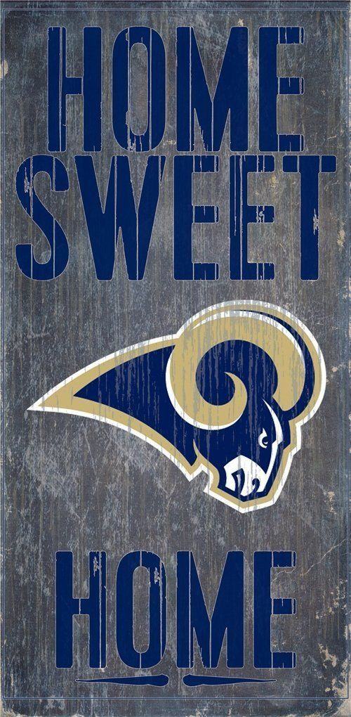 "LOS ANGELES RAMS HOME SWEET HOME WOOD SIGN and ROPE 12"" X 6""  NFL MAN CAVE!"
