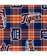 Detroit Tigers Plaid MLB Pro Sports Baseball Team Fleece Fabric Print - ... - $12.97