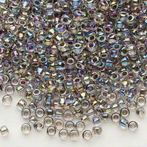 Matsuno 8/0, Clear, Color Lined Peacock, Round Seed Bead, 50g, glass - $6.00