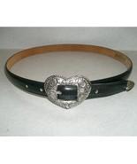 """Justin 28"""" Black Leather Western Belt w/ Silver Heart Buckle - $12.99"""