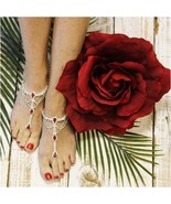 Barefoot Sandals, RED, Silver rhinestones, wedding, bridal, bridesmaid, ... - $31.99