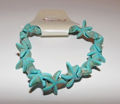 Starfish From The Sea Turquoise Stone Stretch Bracelet New Great Gift Na... - ₨396.33 INR