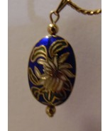 Necklace navy blue cloisonne pendant on 19in beaded chain - £9.54 GBP