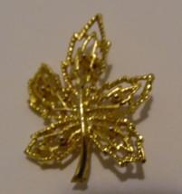 Brooch Pin Gold Leaf Open Filigree Approx 1.5in X 1.25in - $5.44