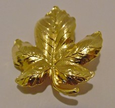 Brooch Pin Gold Leaf Approx 1.5in X 1.5in - $5.44