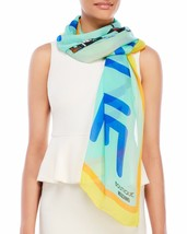 BOUTIQUE MOSCHINO Printed Silk Scarf MInt Blue - $119.73 CAD