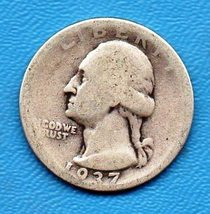 1937 Washington Quarter - Circulated - Moderate Wear - $8.00