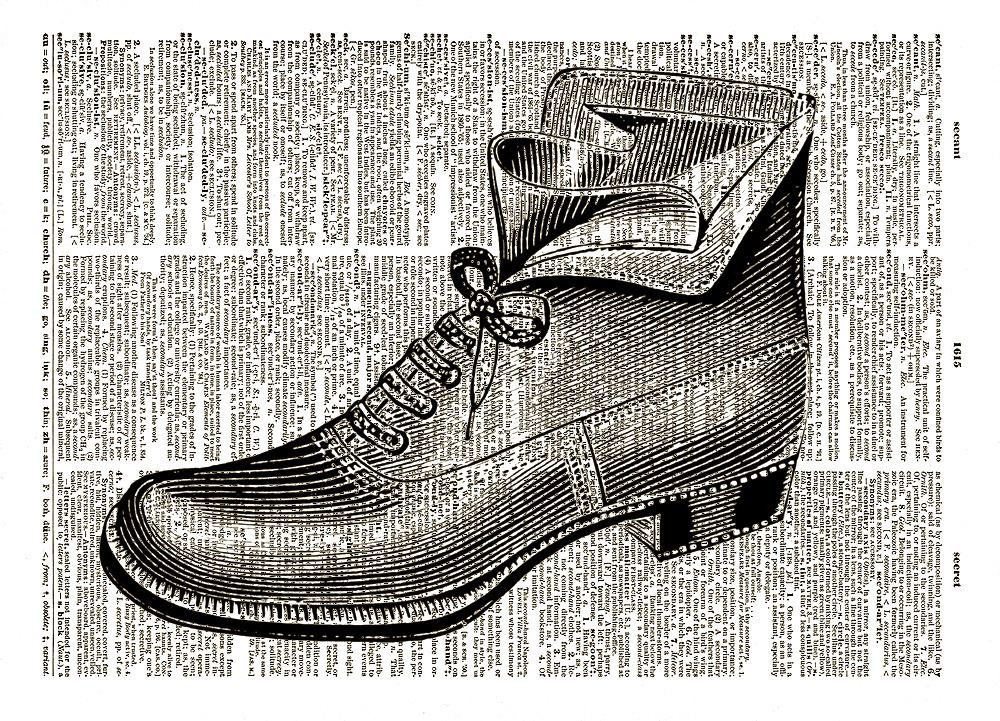 Antique SHOE BOOT Beautiful Upcycled Vintage Dictionary Page Print No. 0026