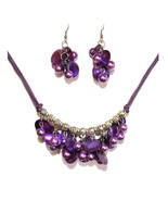Womens Silver Tone Purple Shell Mother Of Pearl Layer Strand Beach Necklace Set - $14.97