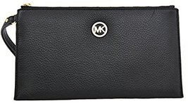 Michael Kors Fulton Large Leather Zip Clutch/Wristlet, Black - $98.99