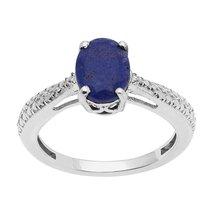 Shine Jewel 6X8 Oval Shape Lapis Lazuli Gemstone 925 Sterling Silver Rin... - $12.87