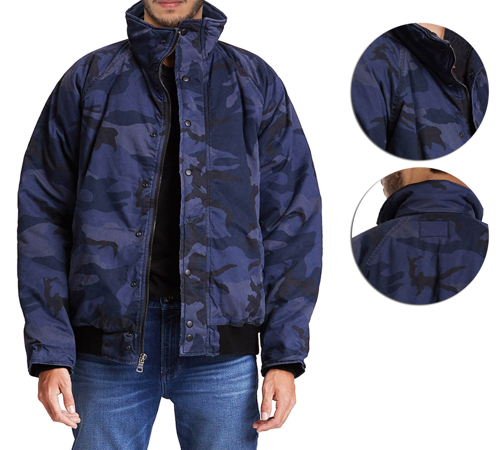 Hudson Jeans Blue Camo Army Casual Full Zip & Snap Button Front Bomber Jacket