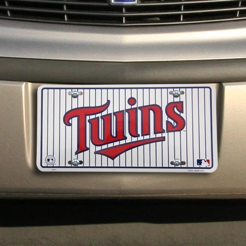 MLB Minnesota Twins White Team Logo Metal License Plate