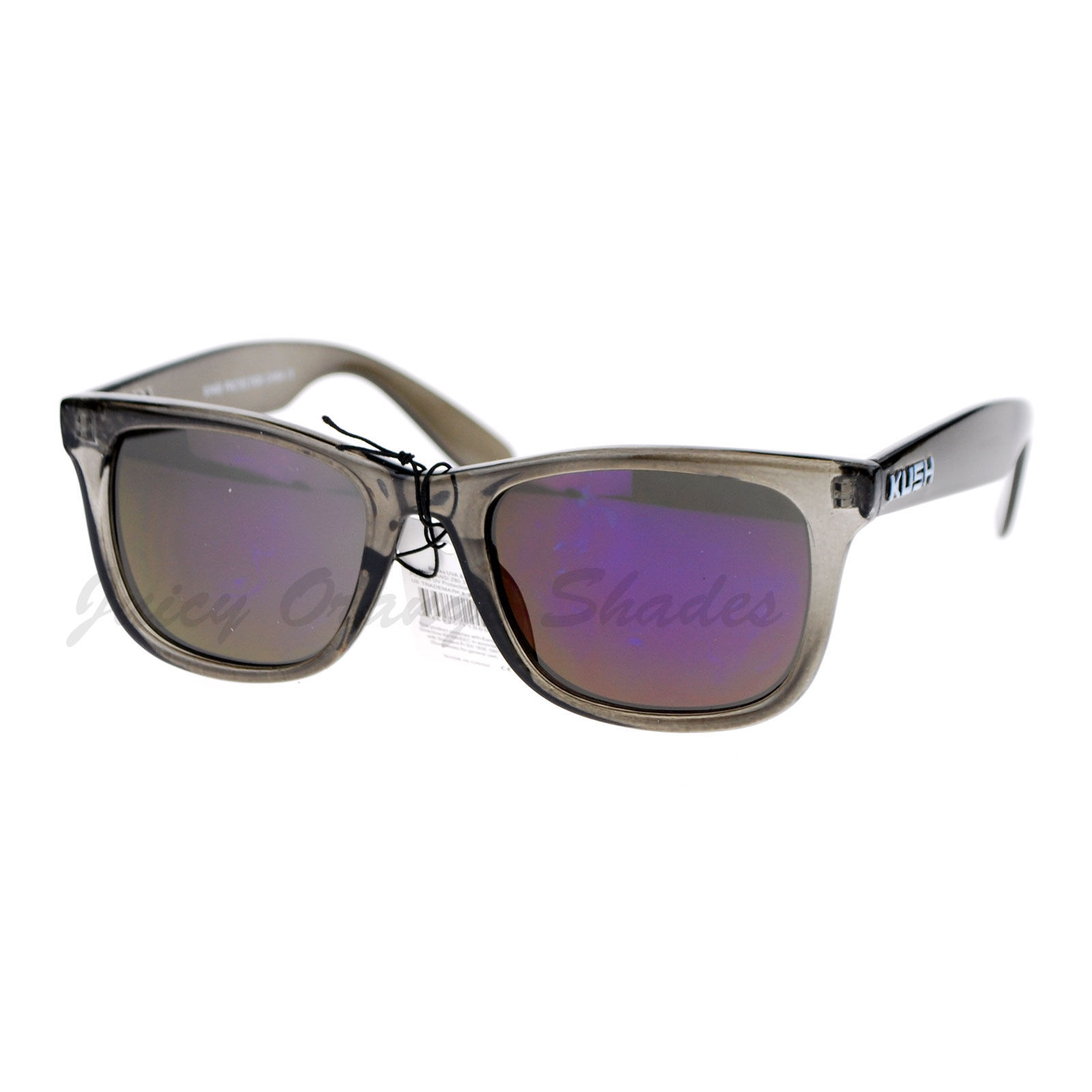 KUSH Fashion Sunglasses Multicolor Mirror Lens Gray Rectangular Frame