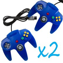 2 PCS NEW Long Controller Game System for Nintendo 64 N64 Blue US Ship - $25.00