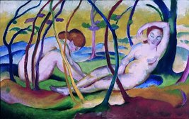 100% Hand Painted Oil on Canvas - Franz Marc - Nudes under Trees - 30x40... - $404.91
