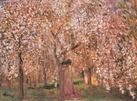100% Hand Painted Oil on Canvas - Cherry tree blooms by Joseph Rippl-Ron... - $404.91