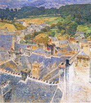 100% Hand Painted Oil on Canvas - Roofs, Pont-Aven by Hassam - 30x40 Inch - $404.91