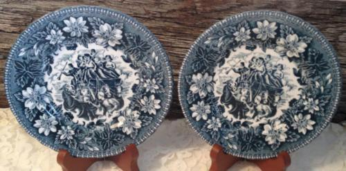 Vintage 2 Royal Tudor Ware Coaching Taverns Bread Butter Plate Staffordshire