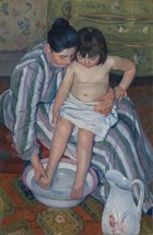 100% Hand Painted Oil on Canvas - Cassatt - The Childs Bath - 20x24 Inch - $226.71