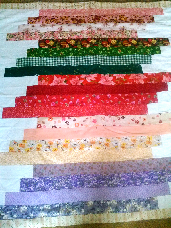 Staggered Strips Lap Quilt