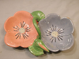 Vintage Flower Daisey Ceramic Candy Bowl Dish  Serving Dish Pink Blue - $27.23