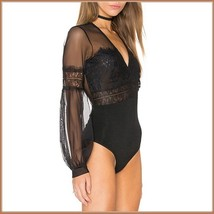 Black Sheer Tulle Lace Full Bodysuit with Long Lantern Transparent Sleeves image 2
