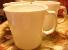 "Corelle Winter White Mugs/Cups (3) with ""D"" shape handle GUC - $20.00"