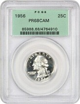 1956 25c PCGS PR 68 CAM (OGH) - Washington Quarter - Old Green Label Holder - $82.45