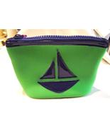 Macbeth Green & Blue Sailboat Scuba Cosmetic Bag By Margaret Josephs  New - $12.99