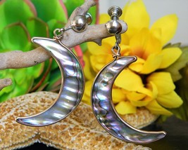 Vintage Crescent Moon Abalone Silver Dangle Drop Screw Back Earrings - $18.95
