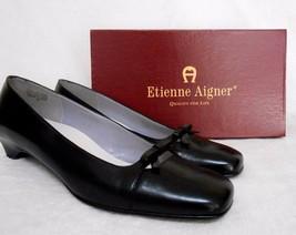 ETIENNE AIGNER BLACK LEATHER SLIP ON SHOES, BO... - $39.99
