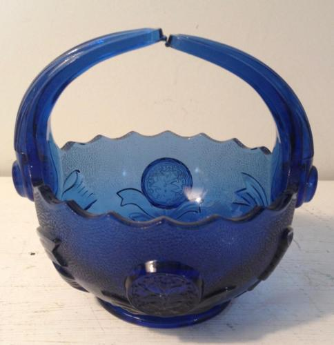 Imperial Glass Cobalt Buttons Bows Split Handle Basket Blue Marked