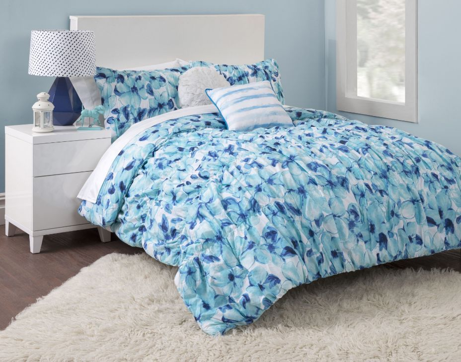 blue floral girls twin xl bed comforter set flowers teen cotton bedding blanket comforters sets. Black Bedroom Furniture Sets. Home Design Ideas