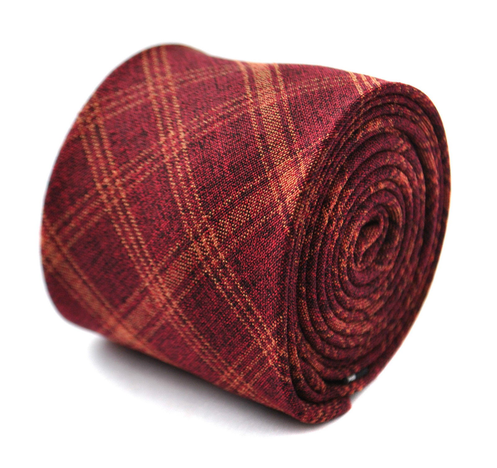 Frederick Thomas skinny maroon and orange check linen tie FT2015
