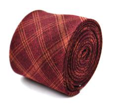 Frederick Thomas skinny maroon and orange check linen tie FT2015