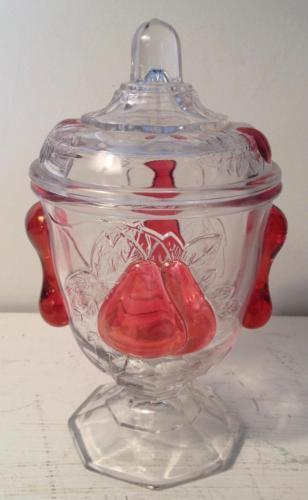 Imperial Glass Baltimore Pear Ruby Flash 1962 Footed Candy Dish