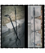 "Heavy Duty Fireplace Fire Poker & Tong Set 47"", Made in US by a Blacksmith - $193.05"